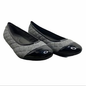 pluggz Diana Grey & Black Quilted Ballet Flats